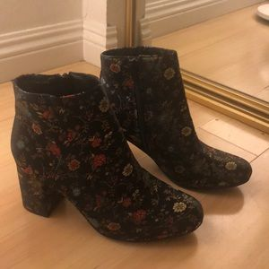 Never worn silk flower laced booties